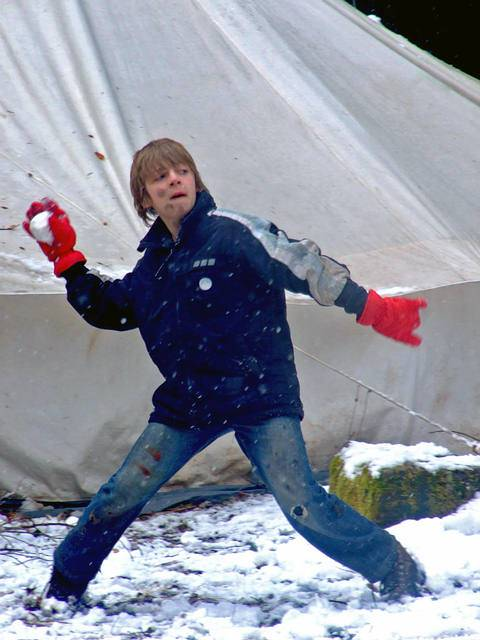 A snowball fight is always popular. Make sure the snowballs are not too hard.