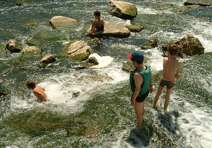 Almost magically, kids are attracted to the water and play in the shortest time by or in the creek.