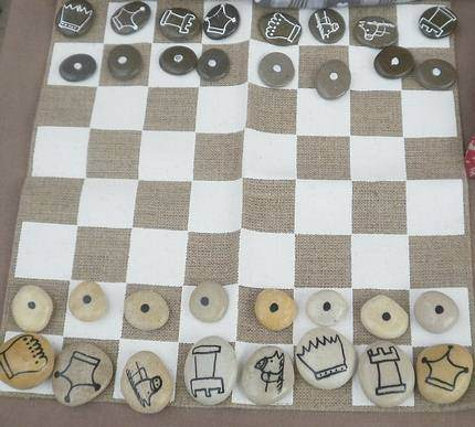 chessboard with pebbles