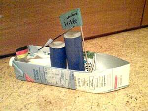 Making a boat from a milk carton