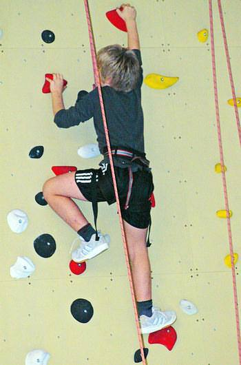Climbing in a hall