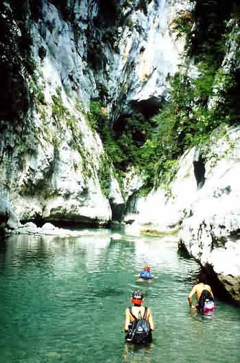 Canyoning: hiking down a canyon
