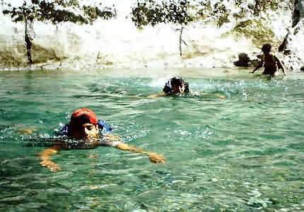 Swimming through a canyon with kids